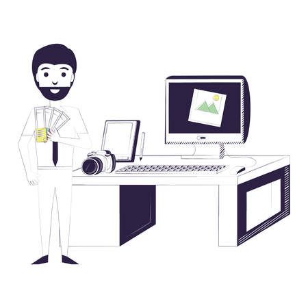 office with designer man and desk with computer and camera over white background, vector illustration