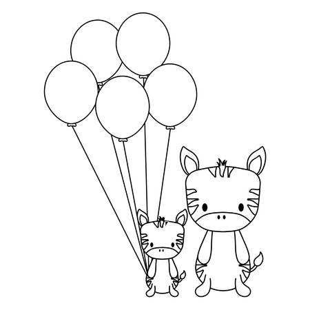 cute zebras and balloons over white background, vector illustration 矢量图像