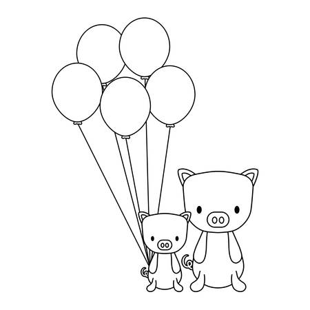 balloons and cute piggys over white background, vector illustration 向量圖像