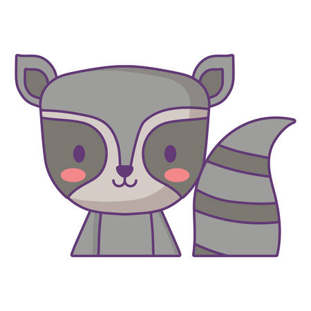 cute raccoon icon over white background, vector illustration