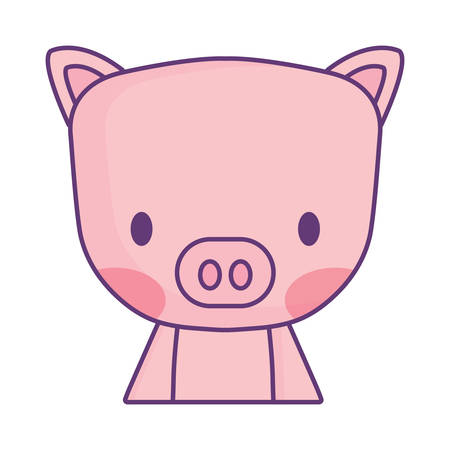 cute pig icon over white background, vector illustration 版權商用圖片 - 112116480