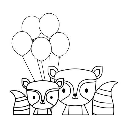balloons and cute raccoons over white background, vector illustration Ilustração