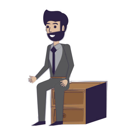 cartoon businessman sitting on drawers over white background, vector illustration