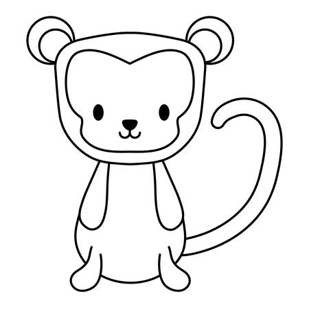cute monkey icon over white background, vector illustration
