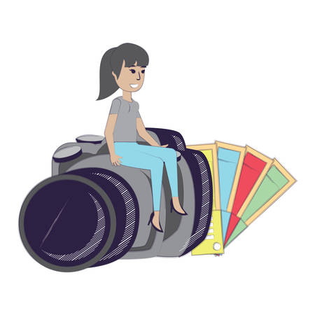 color picker and cartoon designer woman sitting on a camera over white background, vector illustration