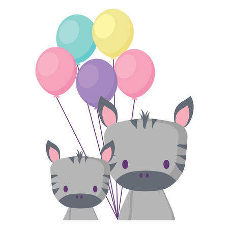 cute zebras and balloons over white background, vector illustration 일러스트