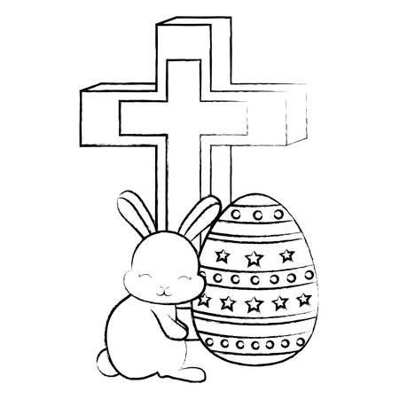 Christian cross with easter egg and cute bunny over white background, vector illustration Ilustrace