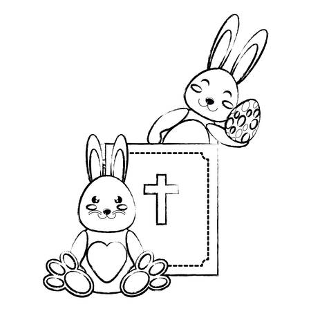 holy bible and cute rabbits with easter eggs over white background, vector illustration