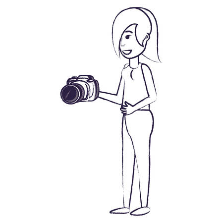 cartoon woman holding a camera over white background, vector illustration