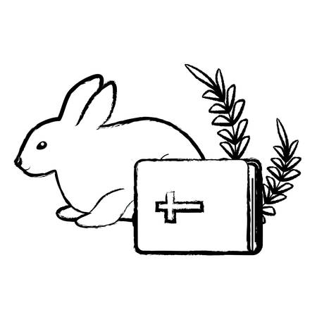 bible and cute rabbit over white background, vector illustration Ilustrace