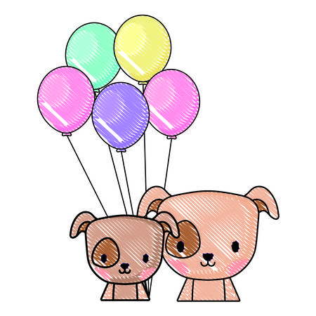 balloons and cute dogs over white background, vector illustration Standard-Bild - 112116821