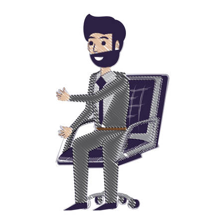 cartoon businessman sitting on office chair over white background, vector illustration