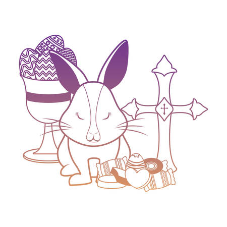 religious cross with cute rabbit and holy grail with candies over white background, vector illustration