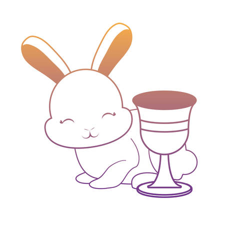 cute rabbit and holy grail over white background, vector illustration