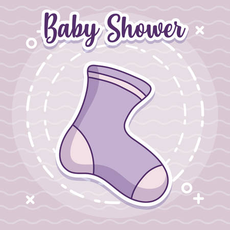 baby shower design with cute sock icon over purple background, vector illustration
