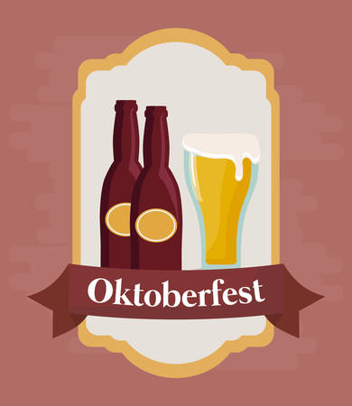 Oktoberfest festival emblem with beer glass and bottles icon over pink background, colorful design. vector illustration