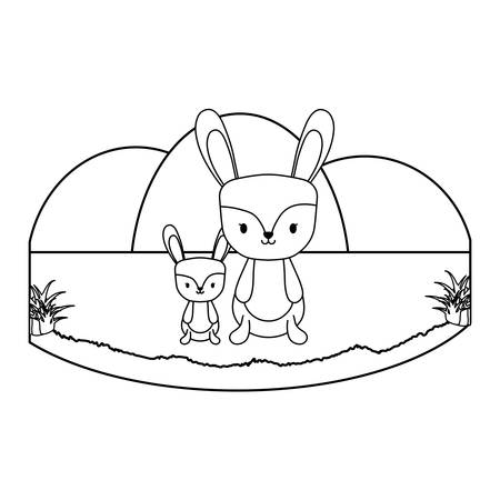 cute rabbits in the grass over white background, vector illustration
