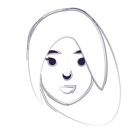 sketch of cartoon woman icon over white background, vector illustration