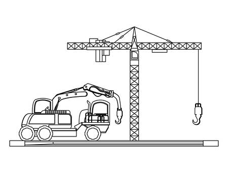 crane truck icon over white background, vector illustration Illustration