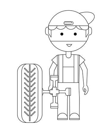 cartoon mechanic with a wheel and cross piece over white background, vector illustration Vettoriali