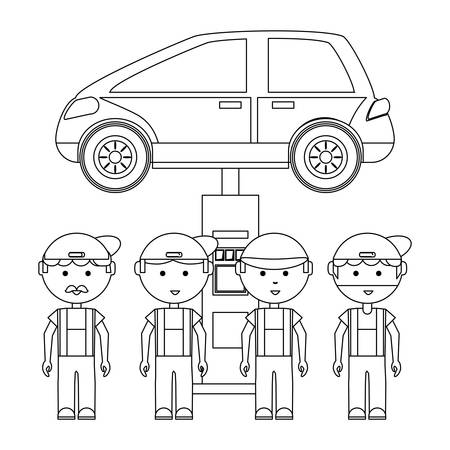 cartoon mechanics and Lifted Vehicle over white background, vector illustration
