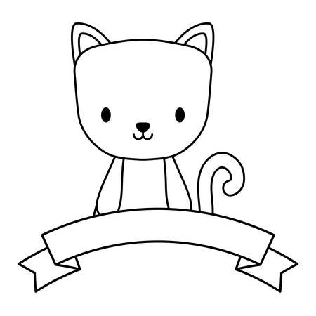 decorative ribbon and cute cat icon over white background, vector illustration 矢量图像