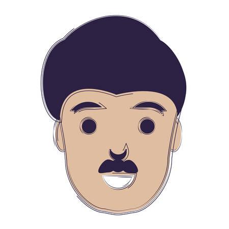 cartoon man with mustache over white background, vector illustratio Illustration