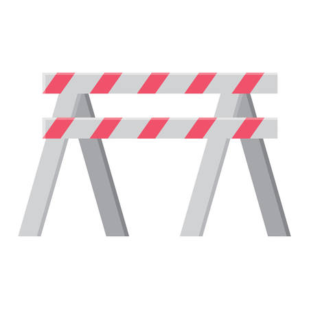 warning barrier icon over white background, vector illustration 矢量图像