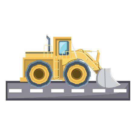 excavator truck icon over white background, vector illustration
