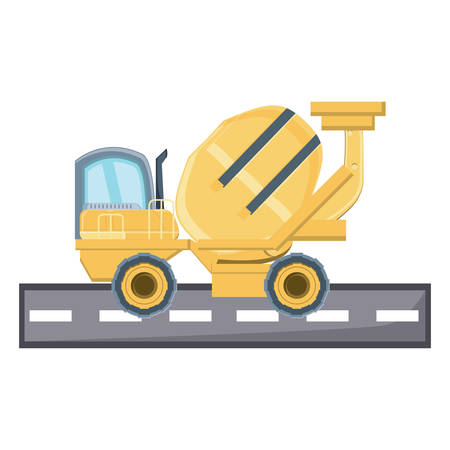 concrete mixer truck icon over white background, vector illustration