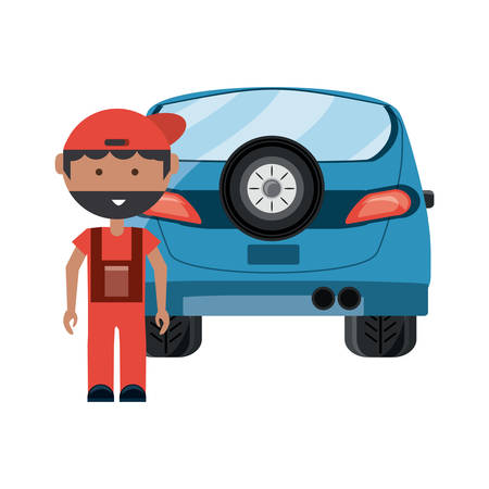 cartoon mechanic and car over white background, vector illustration