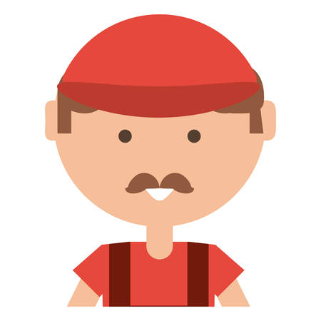 cartoon man with cap and mustache over white background, vector illustration 矢量图像