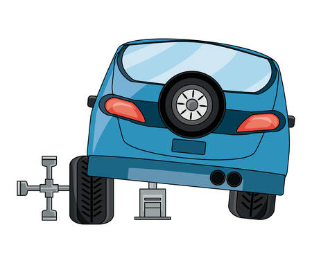 car with repair tools over white background, vector illustration Illustration