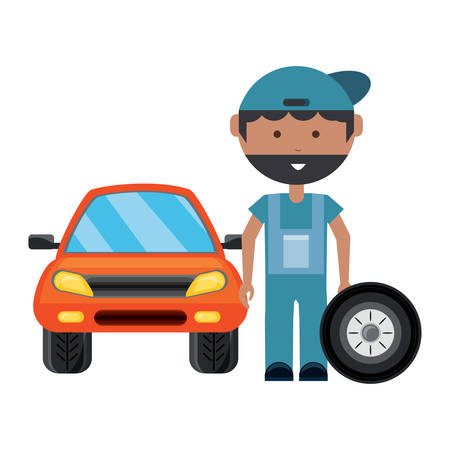 cartoon mechanic with car wheel and car over white background, vector illustration Stock Illustratie