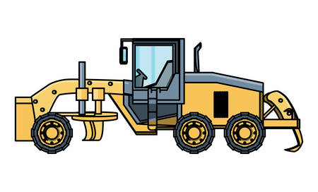 grader truck icon over white background, vector illustration