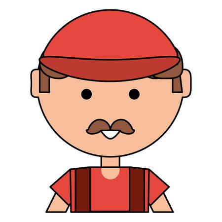 homme de dessin animé avec casquette et moustache sur fond blanc, illustration vectorielle Vecteurs