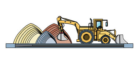 excavator truck with concrete and sand piles over white background, vector illustration Imagens - 111956522