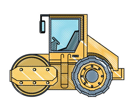road roller truck icon over white background, vector illustration Illustration