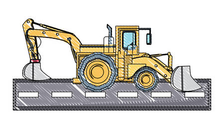 excavator truck icon over white background, vector illustration