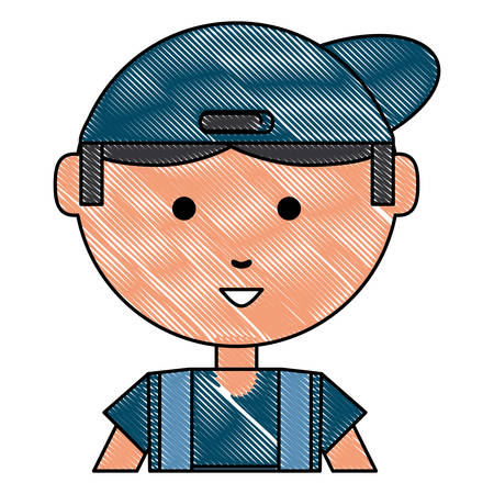 cartoon repair man icon over white background, vector illustration