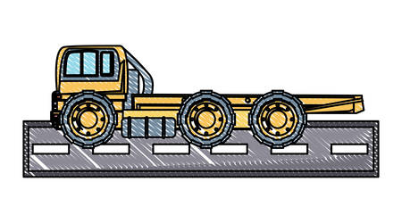 flat bed truck icon over white background, vector illustration Illustration
