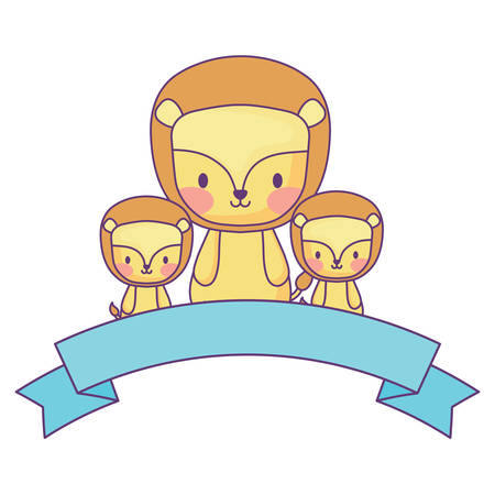 cute lions and decorative ribbon over white background, vector illustration 일러스트