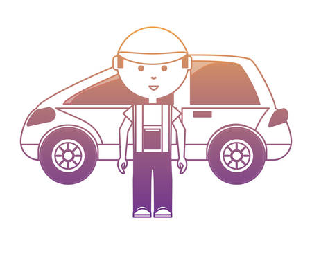 car and cartoon mechanic icon over white background, vector illustration