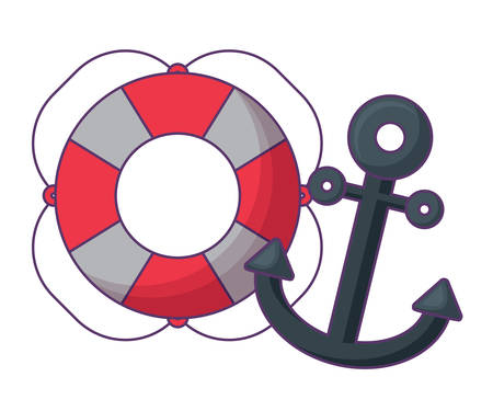 pool float and anchor over white background, vector illustration
