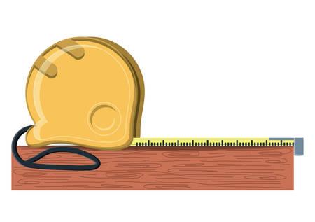 Cinta métrica y tablero de madera sobre fondo blanco, ilustración vectorial