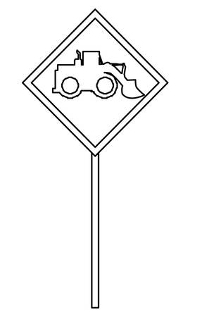 warning sign with construction truck icon over white background, vector illustration