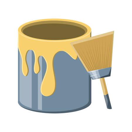 Lata de pintura y el icono de pincel sobre fondo blanco, ilustración vectorial