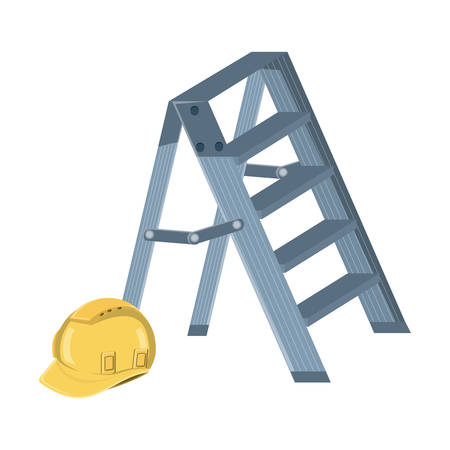 ladder and safety helmet over white background, vector illustration Stock Illustratie