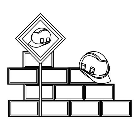 bricks wall with safety helmet over white background, vector illustration