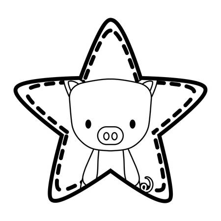 star with cute pig icon over white background, vector illustration